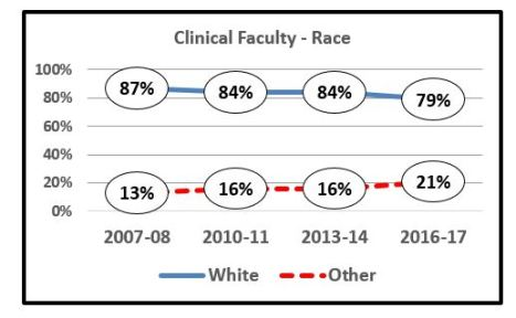 Graph of Clinic Faculty Make up by Race